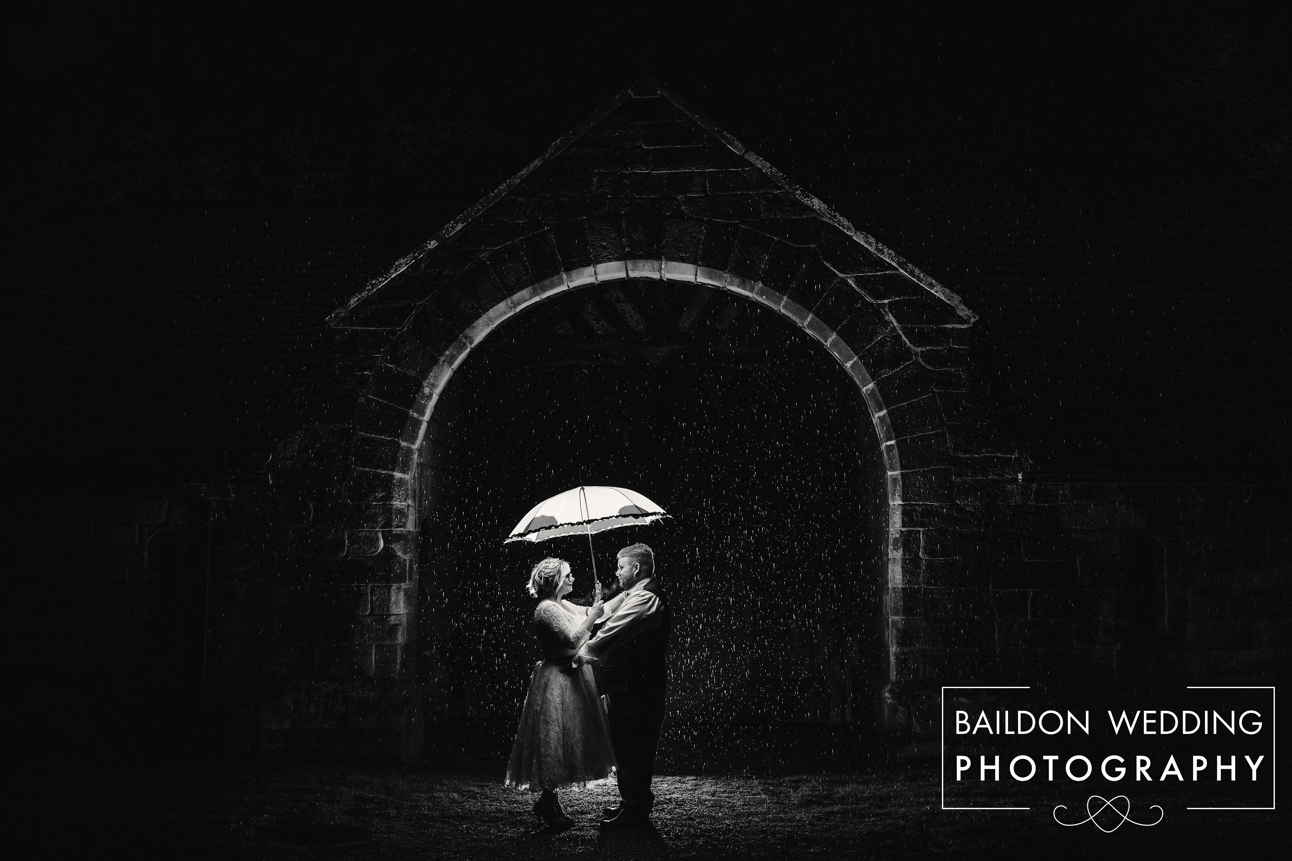 East Riddlesden Hall wedding night shot with rain
