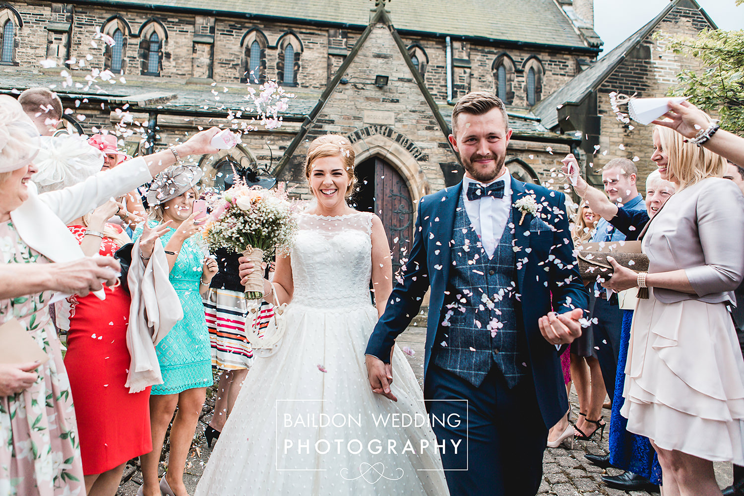 just married confetti Leeds Wedding Photographer