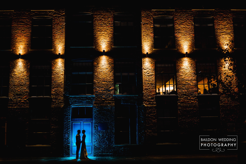 Lit night portrait die and groom silhouette Leeds Urban wedding Northern Monk