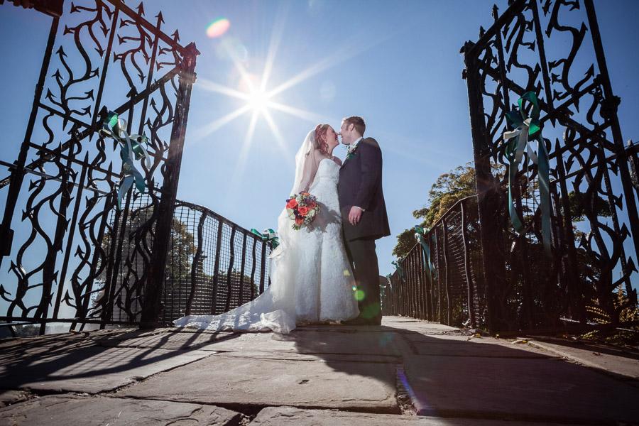 Gate and bridge bride and groom