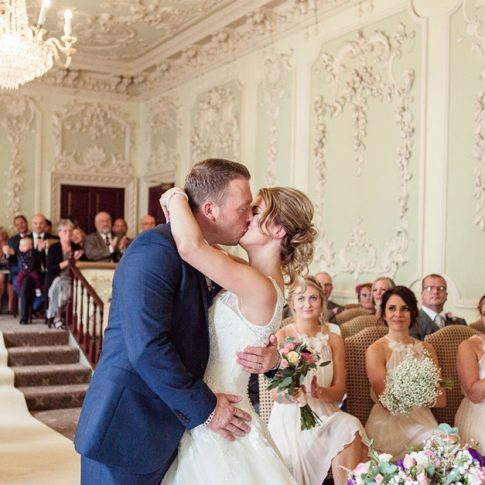 Bridge Hotel Wetherby Leeds wedding Byron Room ceremony kiss