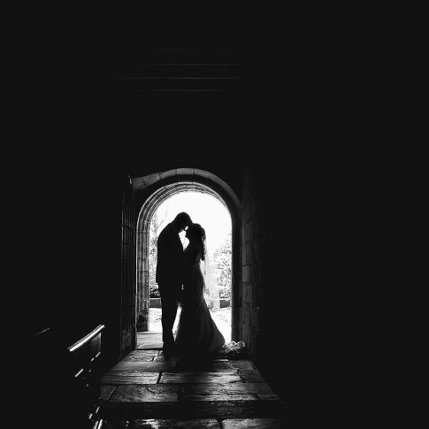 leeds wedding photographer black and white silhouetted photograph weddings at East Riddlesden