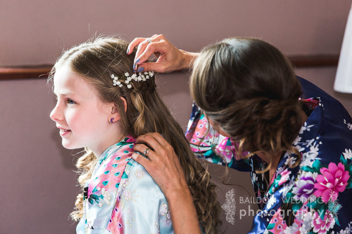 flowers in girls hair